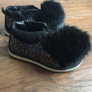Justice Black glitter sneakers girls 13